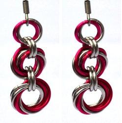 Hot Pink & Silver Triple Spiral Earrings