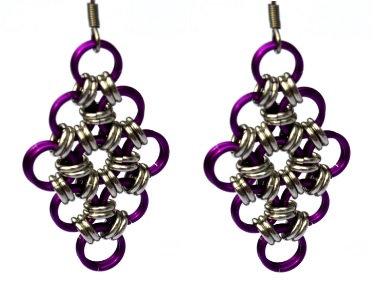 Magenta & Silver Diamond Shaped Earrings
