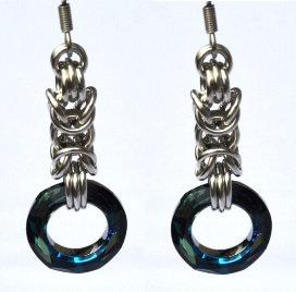 Bermuda Blue Swarovski Byzantine Earrings