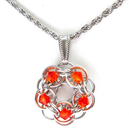 Fire Opal Swarovski Crystal Flower Pendant