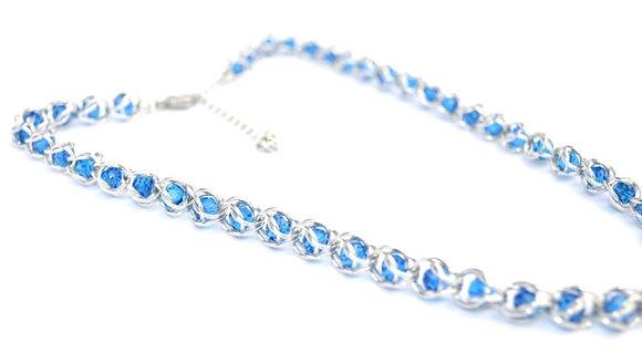 Captured Capri Blue Swarovski Crystal Necklace