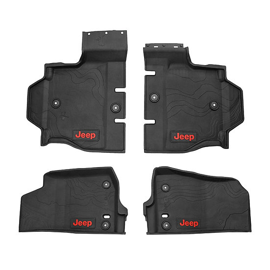 Mopar 82215203AD All-Weather Front & Rear Floor Liner Set for 18-19 Jeep Wrangle