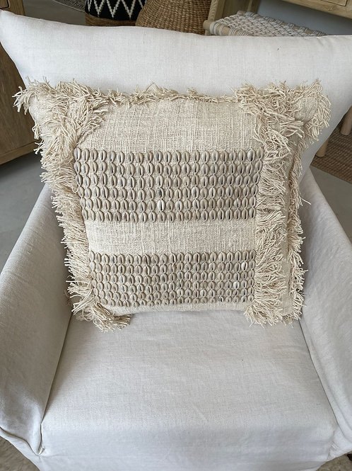 off white pillow with shells 45x45