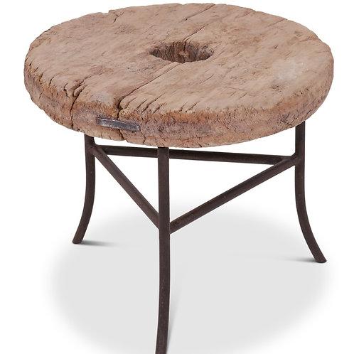 Wooden wheel side table