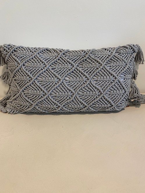 grey macrame pillow (30x50cm)