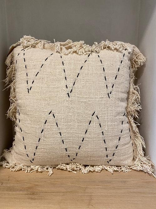 Pillow creamy with black stitches (50x50cm)