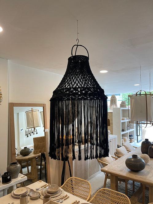 Black macrame lampshade