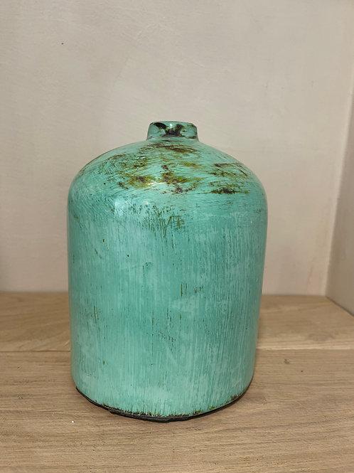 Green glazed stone vase L