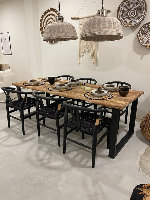 wooden natural shape dining table 220 x 90cm