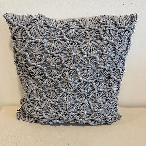 Grey macrame pillow (45x45cm)
