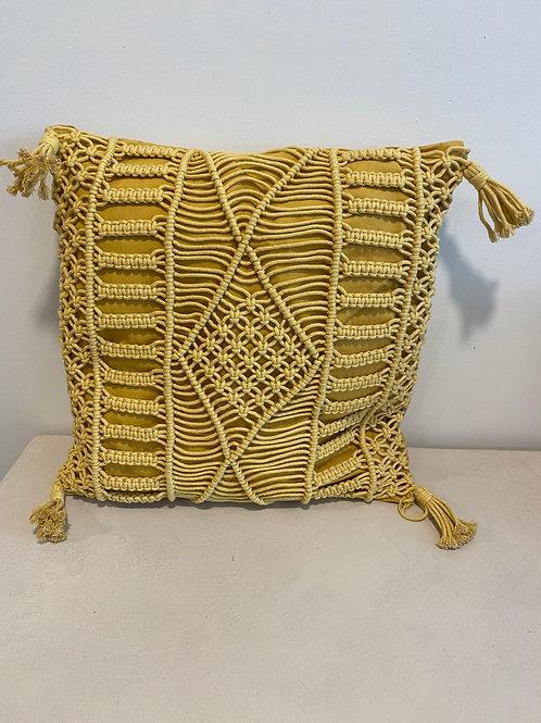 yellow macrame pillow (45x45cm)