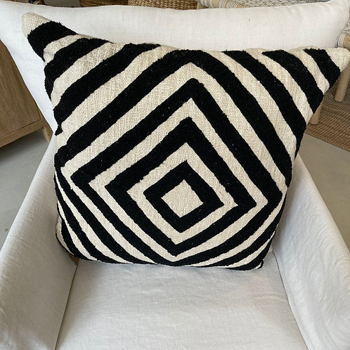 black and off white pillow 50x50