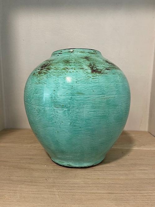Green glazed stone vase