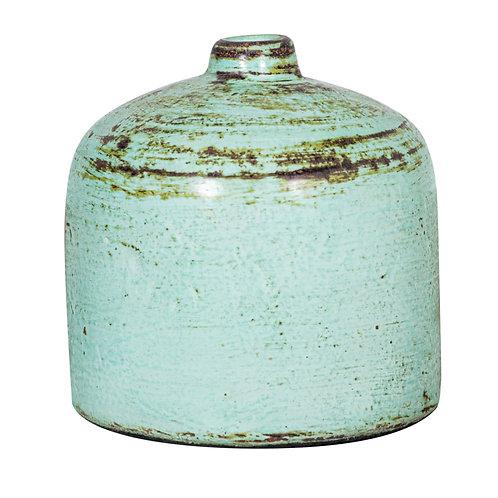 Green glazed stone vase M