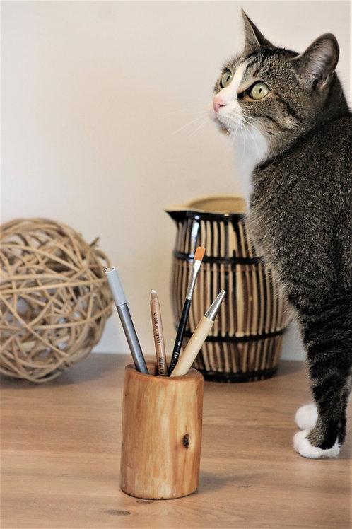 Pot à crayons, petit vase en bois recyclé