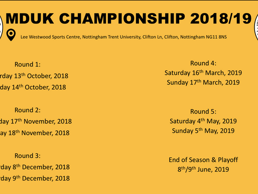 MDUK Championship Dates announced