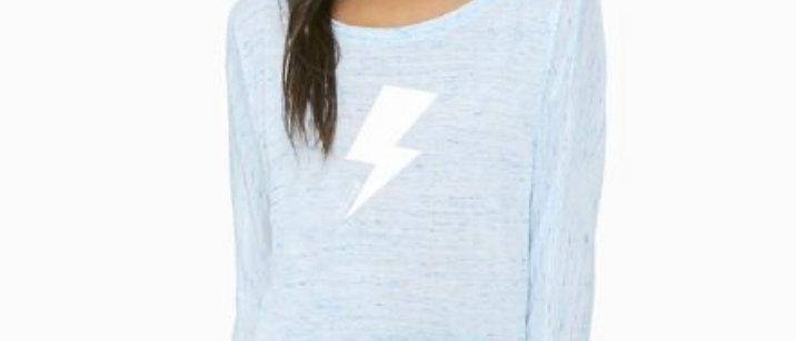 Thunderbolt Wide Neck Dolman Sleeve - Light Heathered Blue