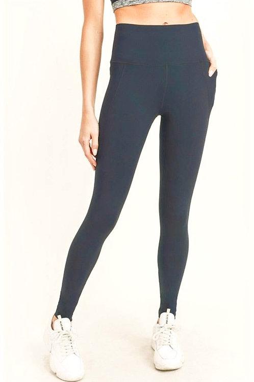 Essential Solid High Waist Leggings - Black