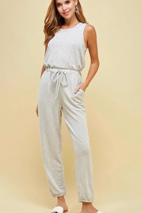 Soft & Sleevless Romper - Grey/White