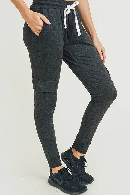 Brushed Cargo Joggers Charcoal