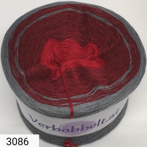 der perfekte Bobbel zum häkeln und stricken mit roten und grauen Farbtönen