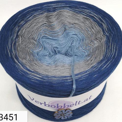 Bobbel mit 3 Farben im Farbverlauf - blaue und graue Farbtöne - zum häkel und stricken