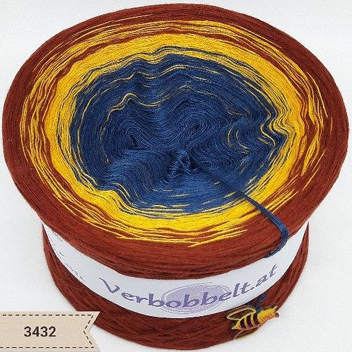 Bobbel zum häkeln und stricken mit warmen herbstlichen Farbverläufen-blau-ocker-kurkuma-kastanie