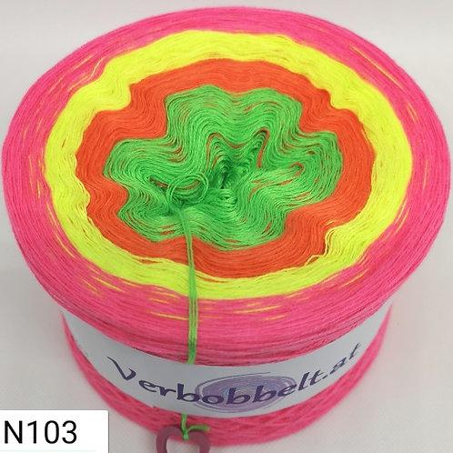 Neonfarben Bobbel mit buntem Farbverlauf-neongrün-neongelb-neonorange-pink