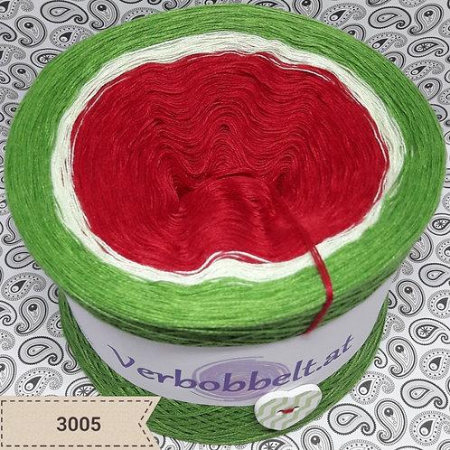 Bobbel Melone | Melonenbobbel | Farbverlaufsgarn rot weiss grün