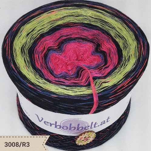 Bobbel pink-grün-schwarz   Bobbel mit Regenbogengarn   Rainbowyarn chroching & knitting