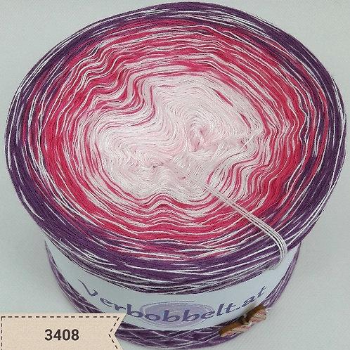 Bobbel zum häkeln oder stricken, rosa und lila Farbtöne, mit weißem Beilauffaden