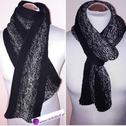 Männerschal aus Bobbel gestrickt - Knit scarf - 6 fädig - schwarz - weiss - Farbverlauf