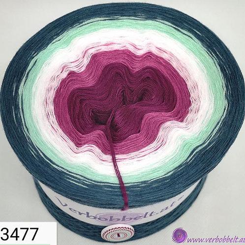 Bobbel Wolle mit blumig-farbenfrohen Farben im Farbverlauf-von beerenfarben über weiss pistazie zu petrolfarben