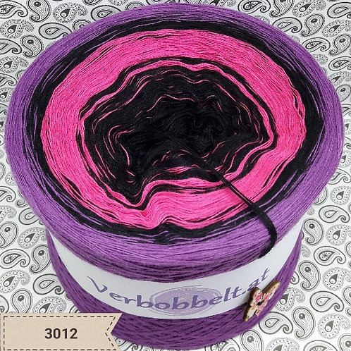 Farbverlaufsgarn schwarz rosa pink violett lila Bobbel
