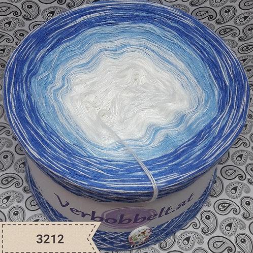 Bobbel mit Beilaufgarn Weiss Farbverlauf Blau Weiss
