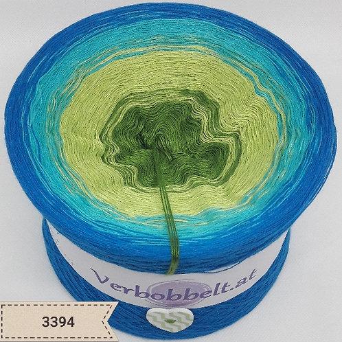 frischer sommerlicher Bobbel mit grün-blau-türkisen Farbtönen- sommerliches Tuch häkeln