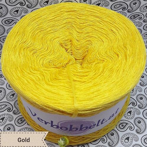 Bobbel unifarben gelb - Bobbel einfärbig gelb - Häkelgarn goldgelb