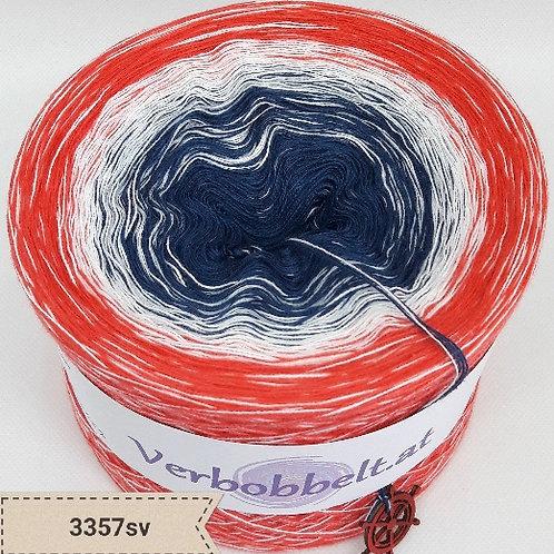 Wundervoller Bobbel mit sanftem Farbverlauf im maritimen Design-blau-weiss-orange