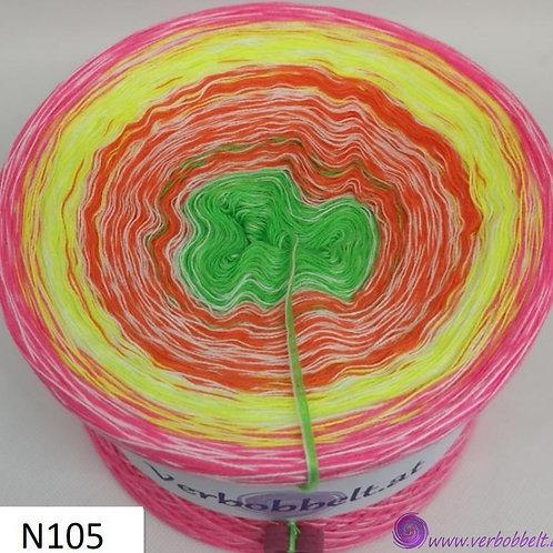 Neonfarbiger Bobbel mit Beilauffaden/Beilaufgarn