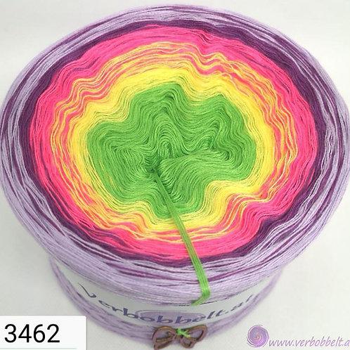 www.verbobbelt.at-Bobbel mit 5 Farben im Verlauf-leuchtend helles grün-gelb-pink-violett-lila