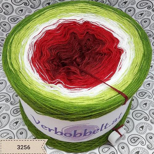 Bobbel - Farbverlaufsgarn - Verlaufsgarn - rot - weiss - grün