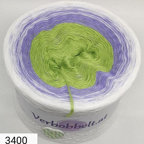 Luftig frische Farben im Verlauf - ein wunderschöner Bobbel mit grün - lila und weißen Farbtönen