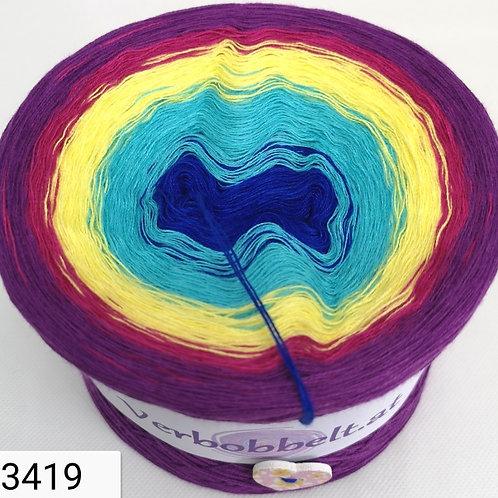 Bobbel mit 5 Farben im modischen Farbverlauf - blau -türkis - gelb - pink - Violett