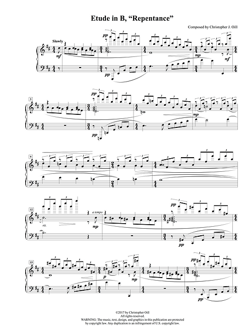 "Etude in B, ""Repentance"""