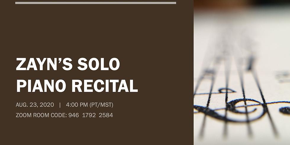 Zayn's Solo Piano Recital