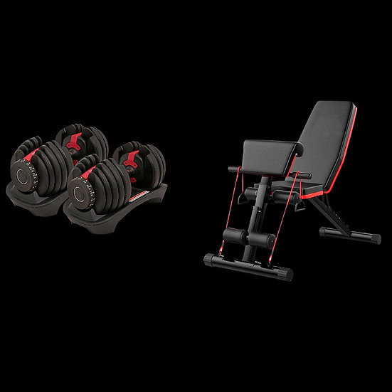 52.5lb Dumbbells and Bench Set