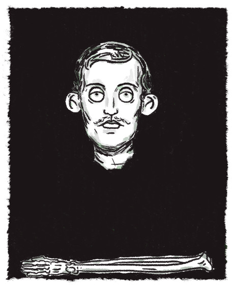 self portrait with skeleton arm ecvard m