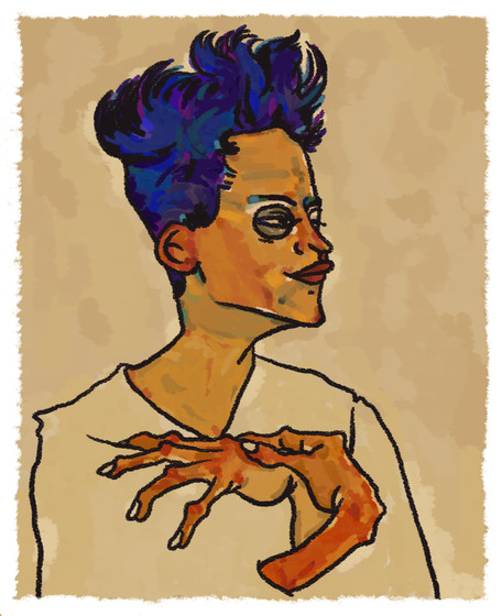self portrait with hands on chest egon s