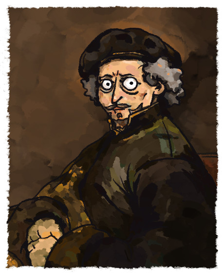 self portrait with beret and turned up c