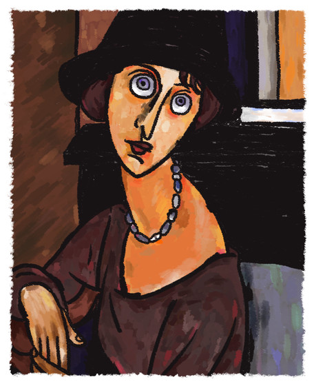 jeanne hebuterne with hat and necklace 1